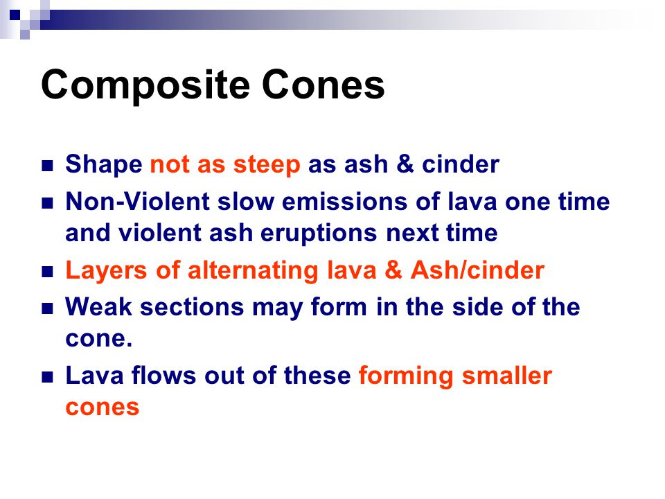 Composite Cones Shape not as steep as ash & cinder