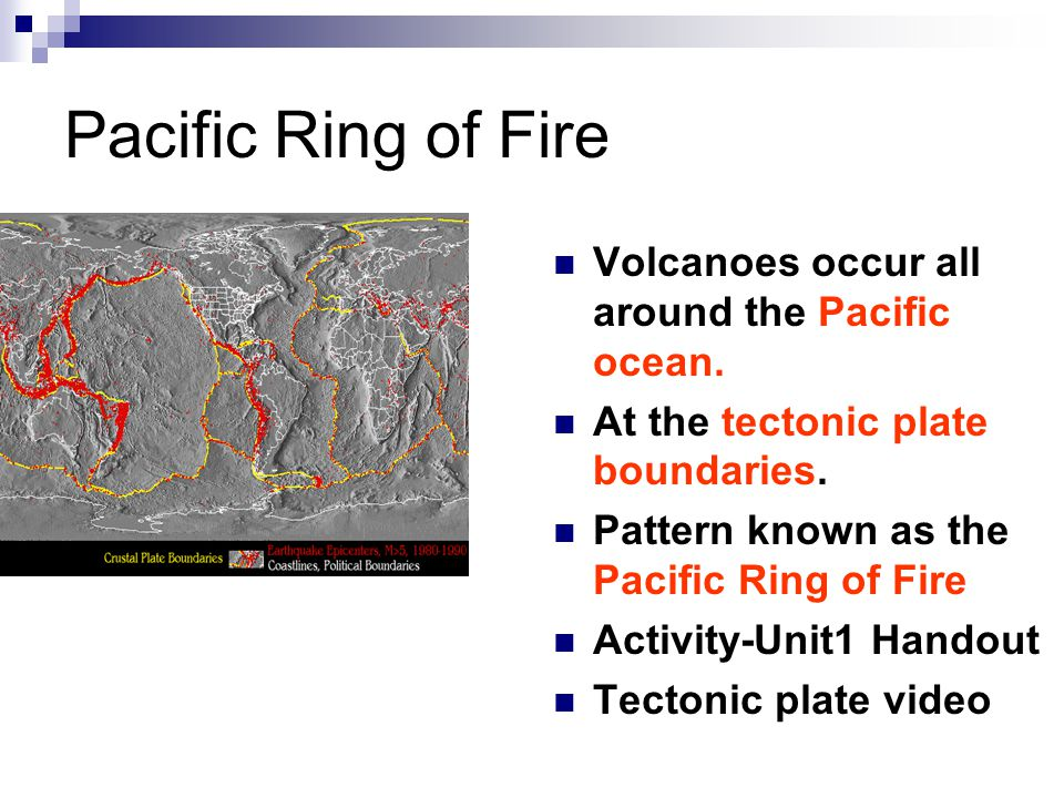 Pacific Ring of Fire Volcanoes occur all around the Pacific ocean.