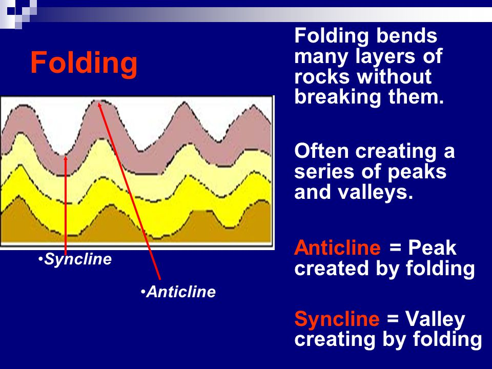 Folding Folding bends many layers of rocks without breaking them.