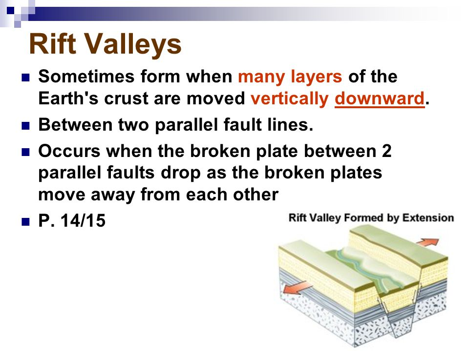 Rift Valleys Sometimes form when many layers of the Earth s crust are moved vertically downward. Between two parallel fault lines.
