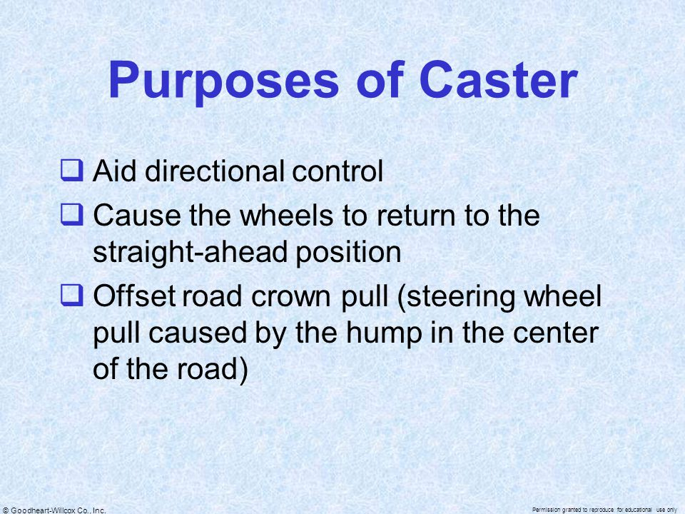 Purposes of Caster Aid directional control