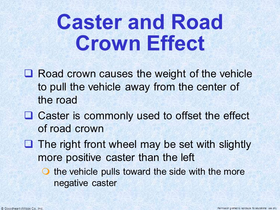Caster and Road Crown Effect