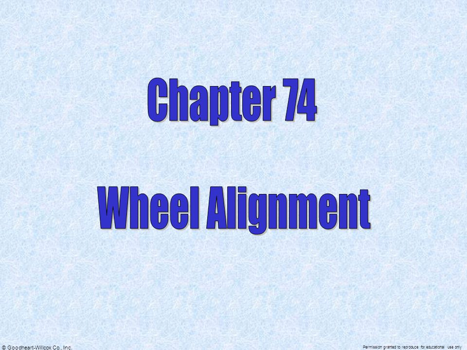 Chapter 74 Wheel Alignment