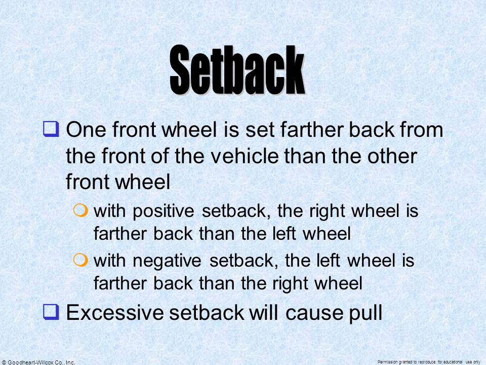 Setback One front wheel is set farther back from the front of the vehicle than the other front wheel.