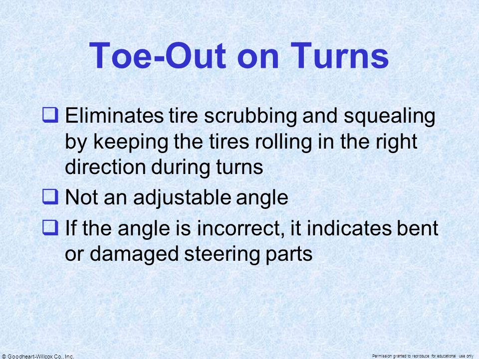 Toe-Out on Turns Eliminates tire scrubbing and squealing by keeping the tires rolling in the right direction during turns.