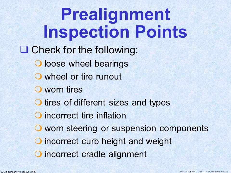 Prealignment Inspection Points