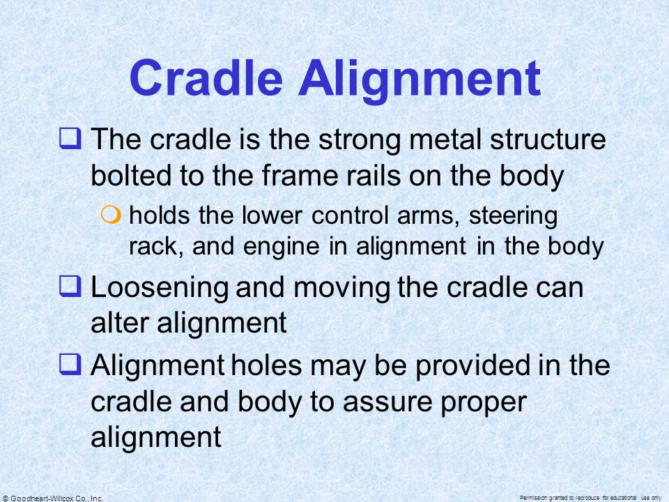 Cradle Alignment The cradle is the strong metal structure bolted to the frame rails on the body.