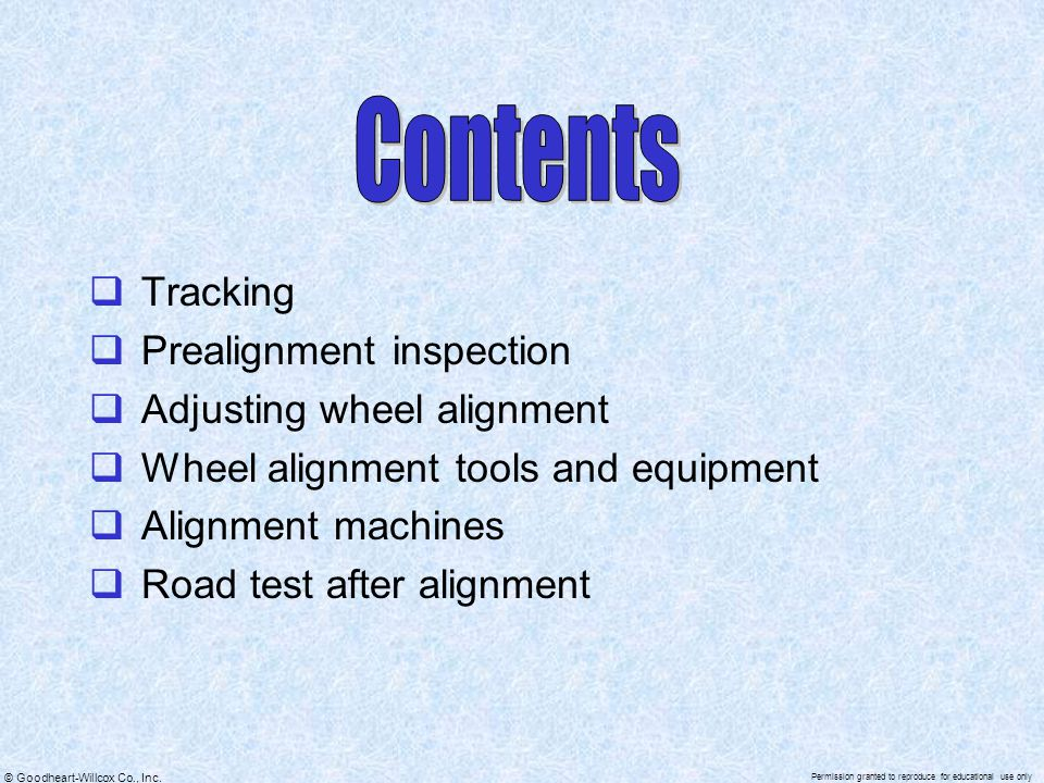 Contents Tracking Prealignment inspection Adjusting wheel alignment