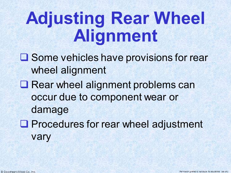 Adjusting Rear Wheel Alignment