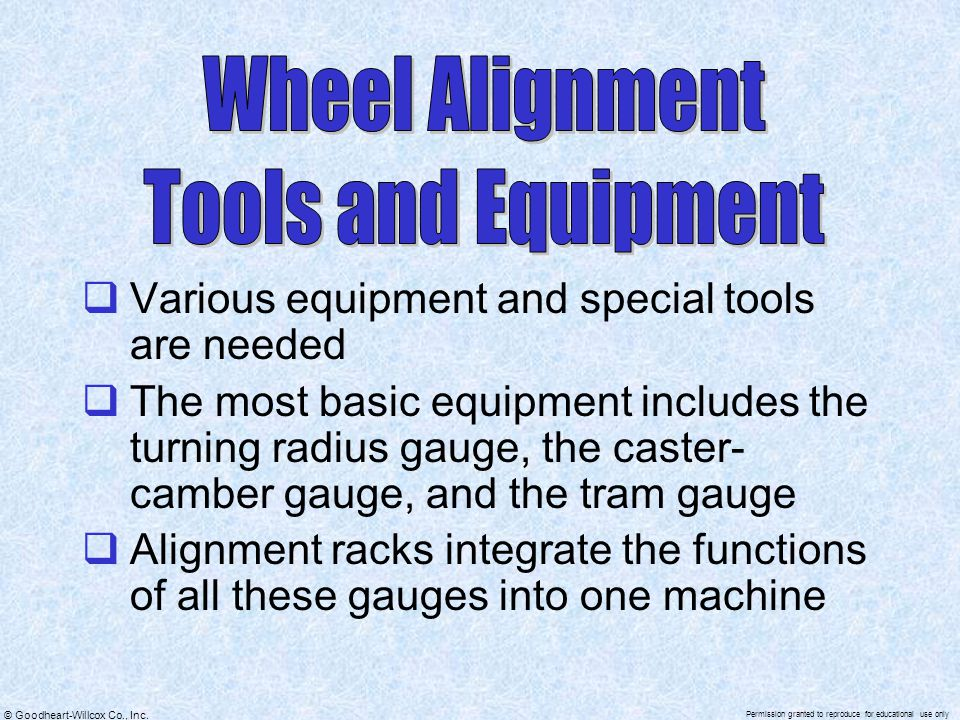 Wheel Alignment Tools and Equipment