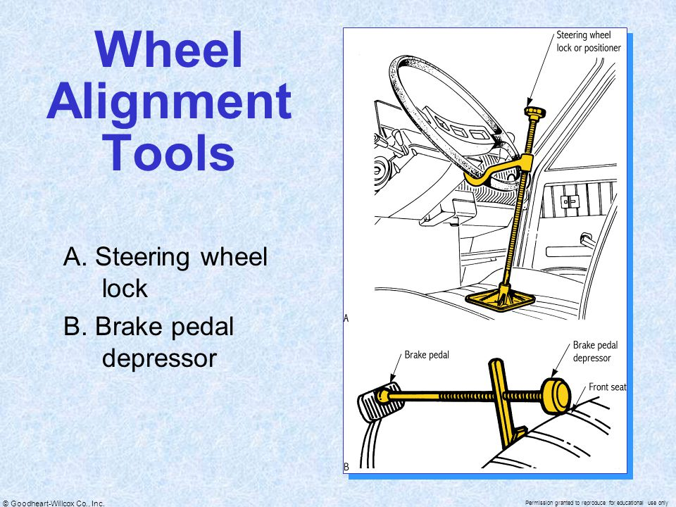 Wheel Alignment Tools A. Steering wheel lock B. Brake pedal depressor