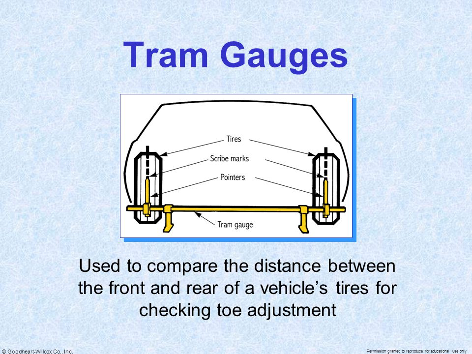 Tram Gauges Used to compare the distance between the front and rear of a vehicle's tires for checking toe adjustment.