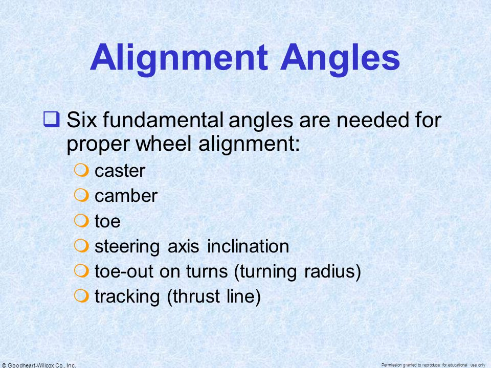Alignment Angles Six fundamental angles are needed for proper wheel alignment: caster. camber. toe.