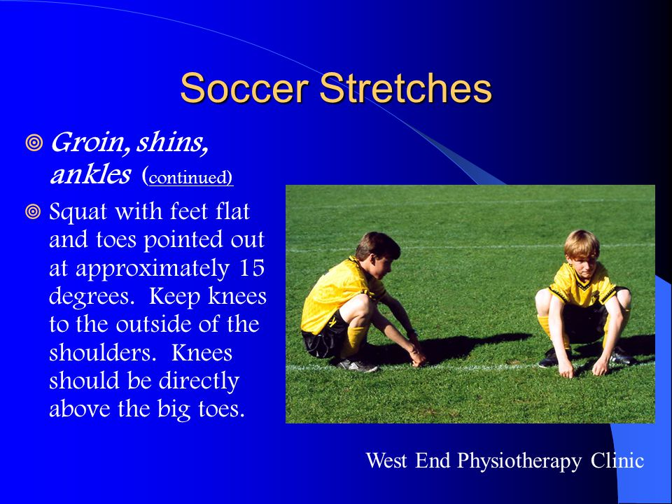 Soccer Stretches Groin, shins, ankles (continued)