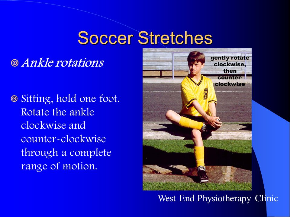 Soccer Stretches Ankle rotations
