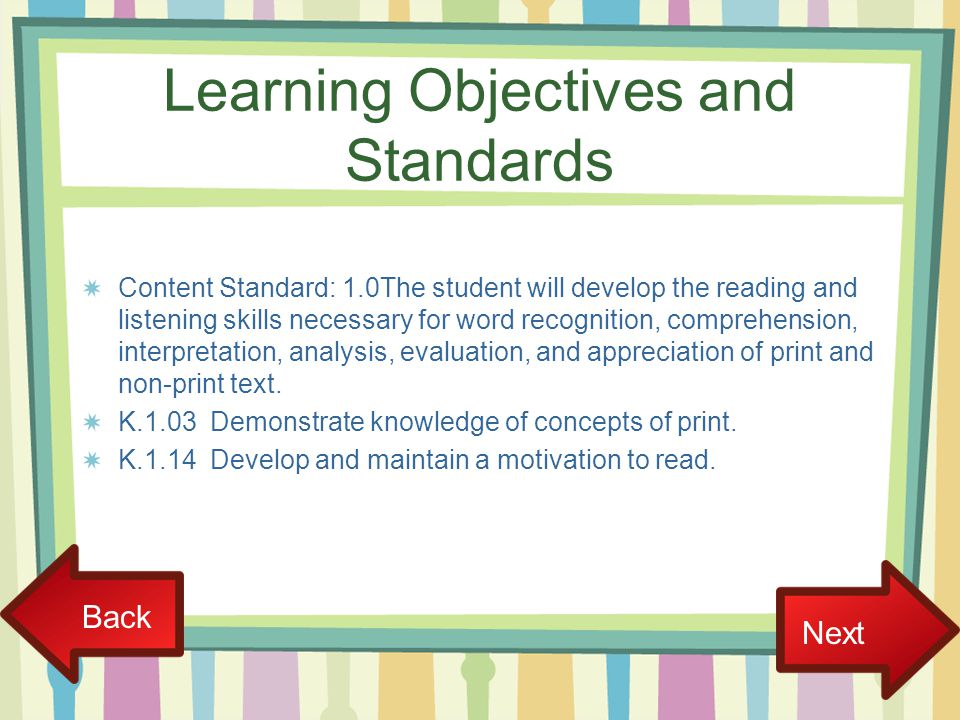Learning Objectives and Standards