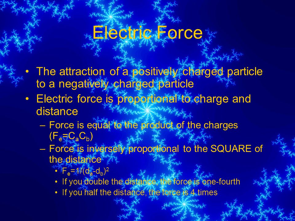 Electric Force The attraction of a positively charged particle to a negatively charged particle.