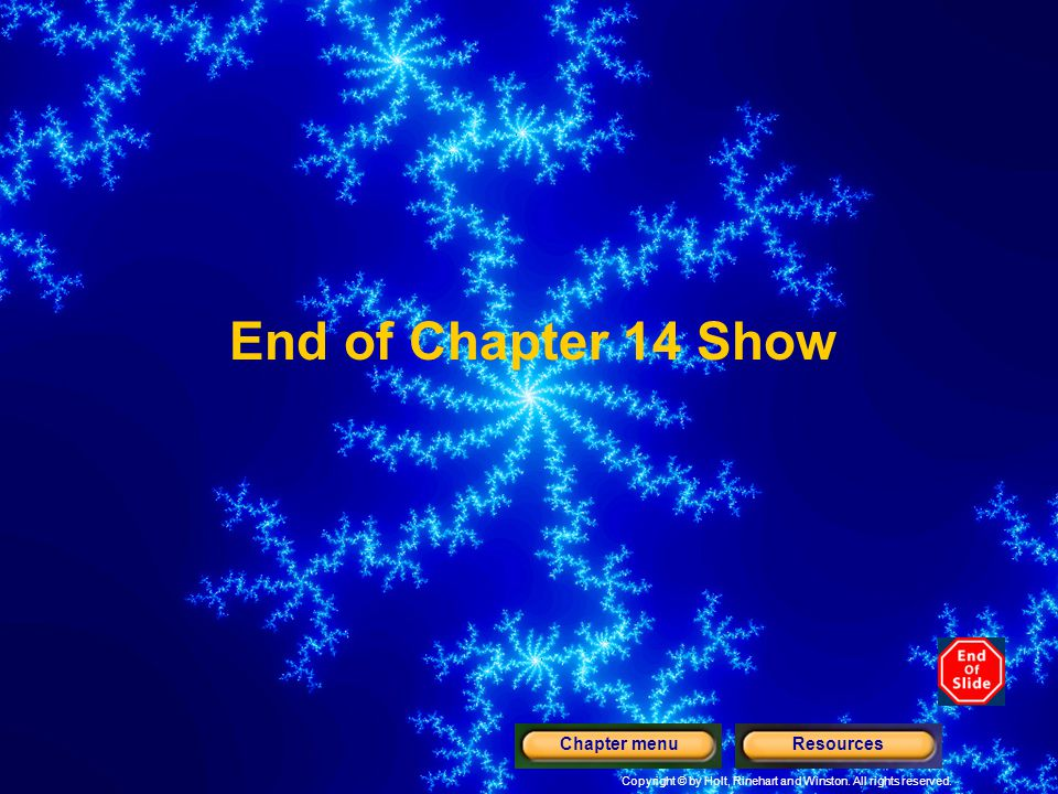 End of Chapter 14 Show Chapter menu Resources
