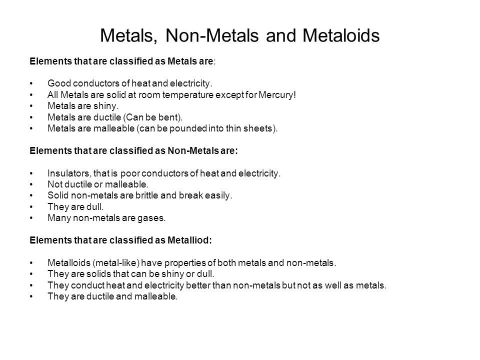 Metals, Non-Metals and Metaloids