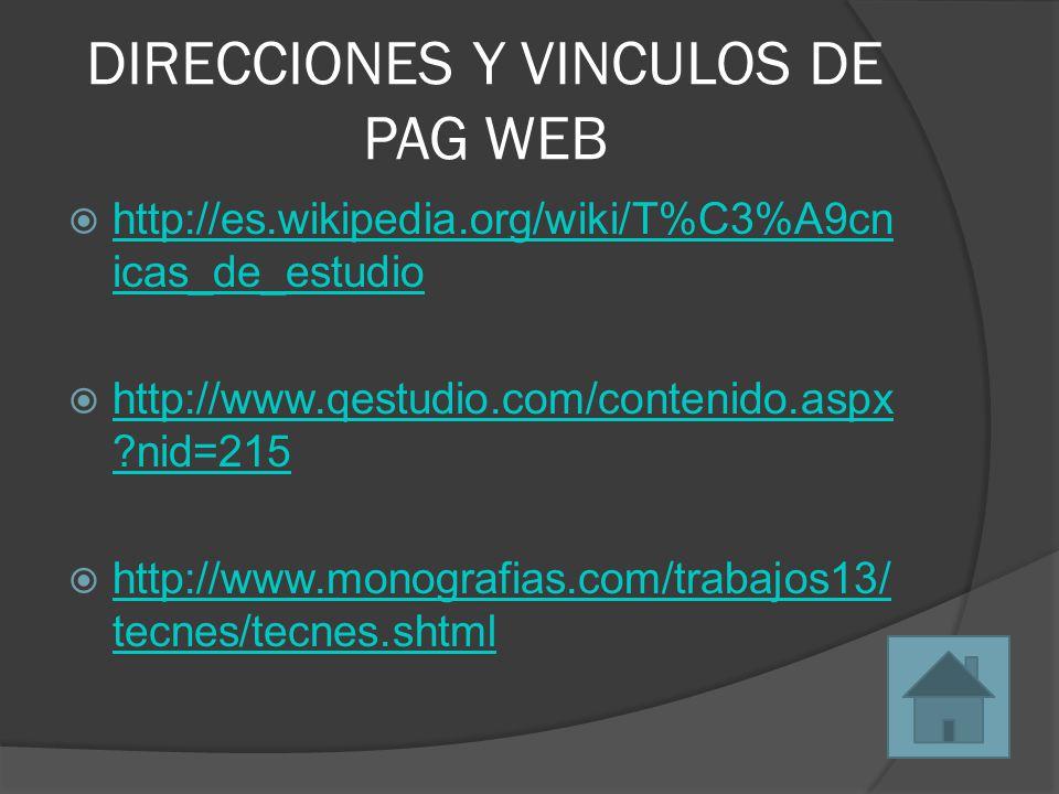 DIRECCIONES Y VINCULOS DE PAG WEB