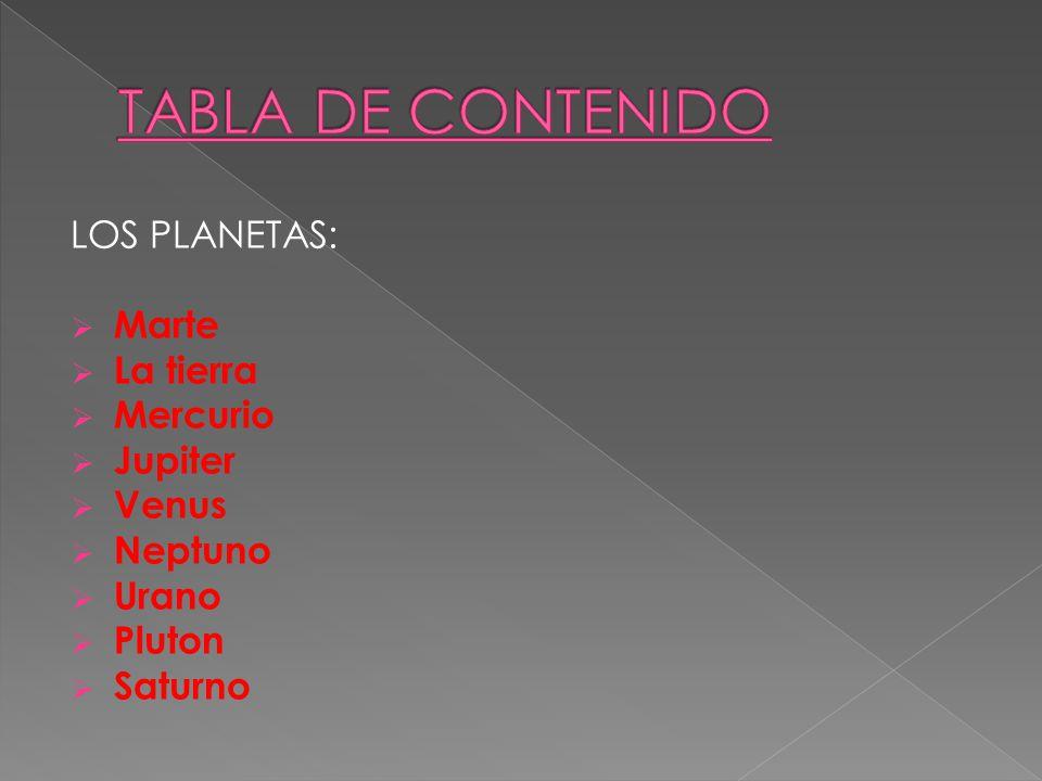 TABLA DE CONTENIDO LOS PLANETAS: Marte La tierra Mercurio Jupiter