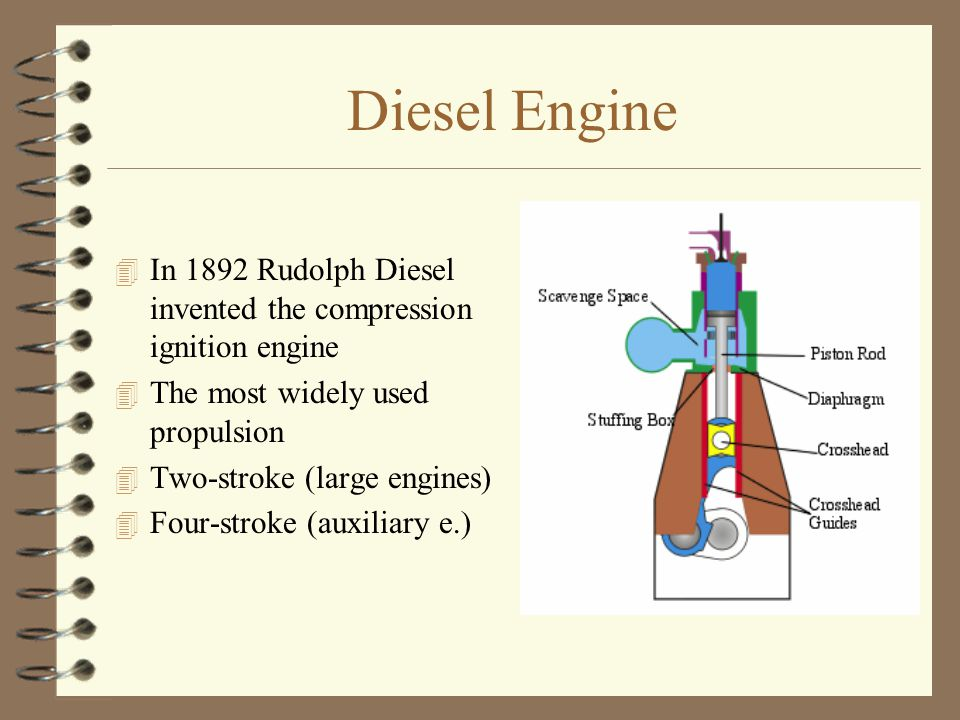 Diesel Engine In 1892 Rudolph Diesel invented the compression ignition engine. The most widely used propulsion.