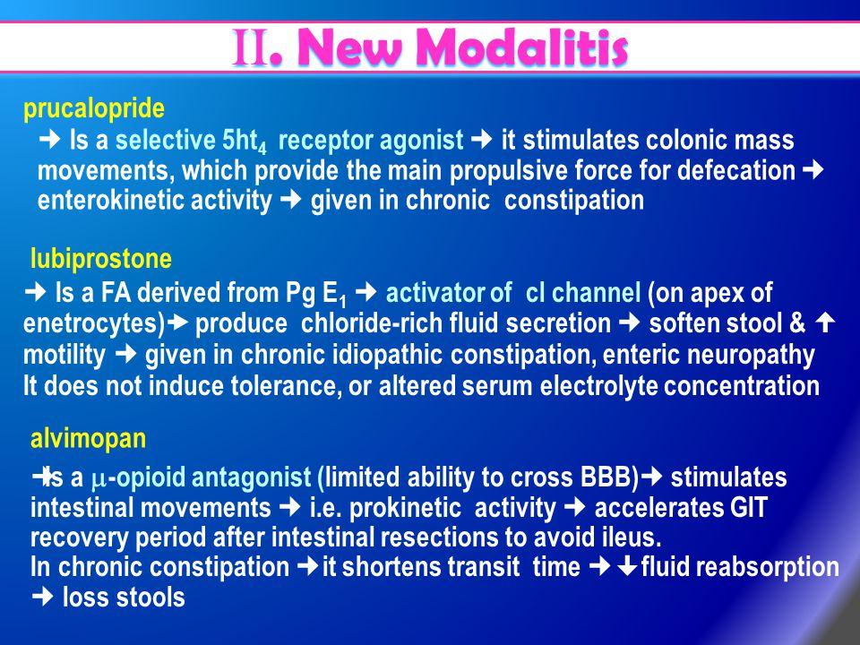 II. New Modalitis prucalopride