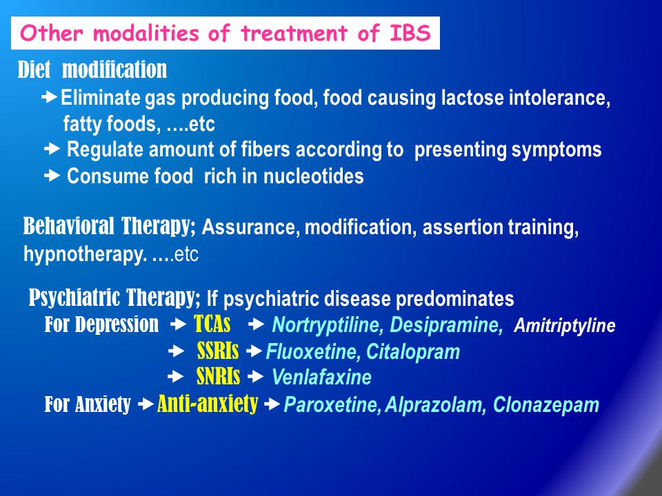 Other modalities of treatment of IBS