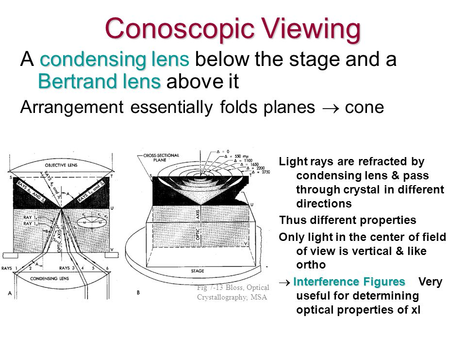 Conoscopic Viewing A condensing lens below the stage and a Bertrand lens above it. Arrangement essentially folds planes ® cone.