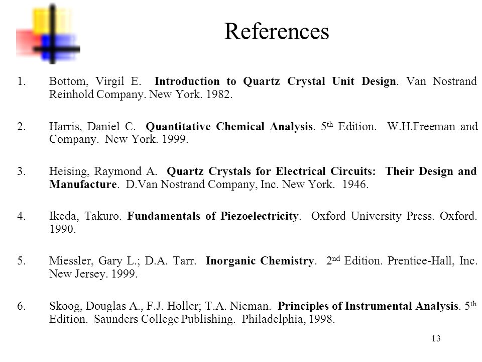 References Bottom, Virgil E. Introduction to Quartz Crystal Unit Design. Van Nostrand Reinhold Company. New York. 1982.