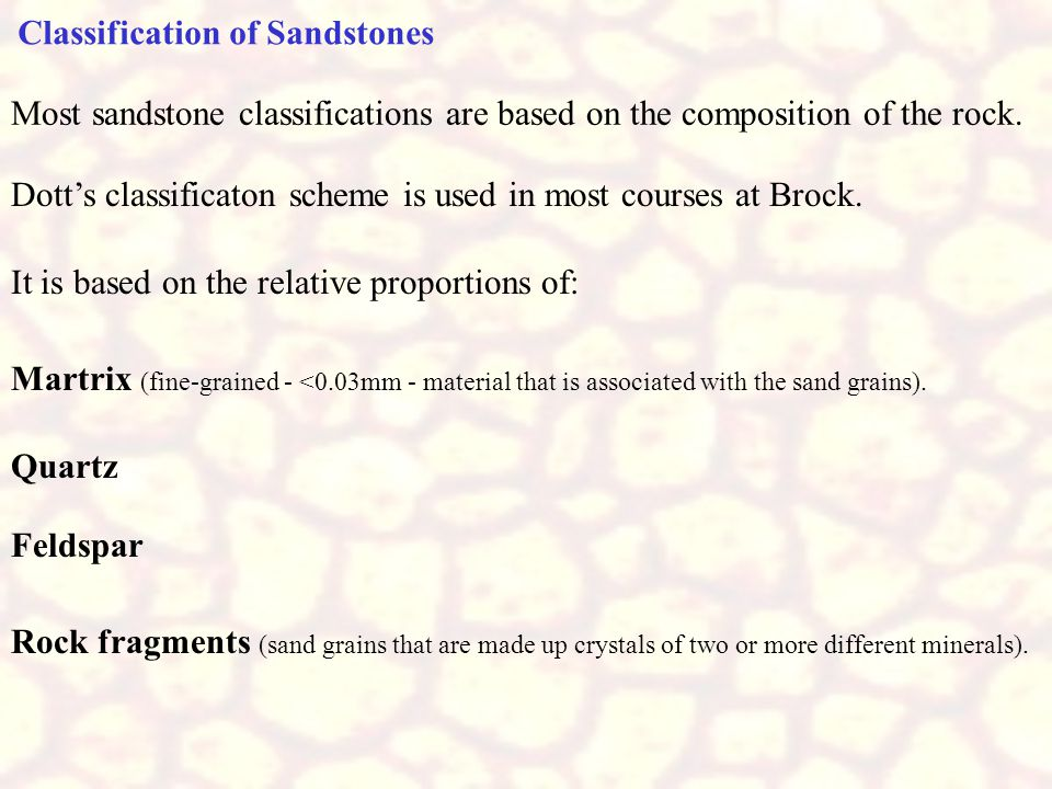 Classification of Sandstones