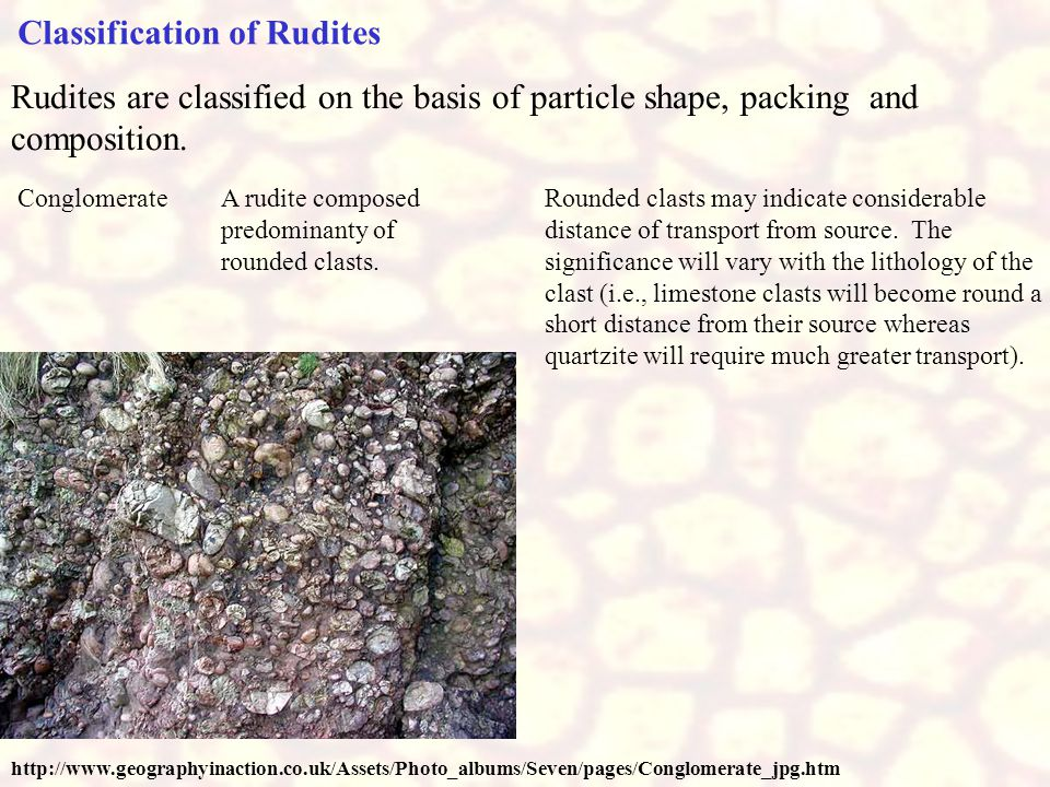 Classification of Rudites