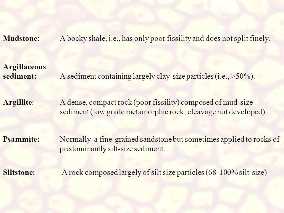 Mudstone:. A bocky shale, i. e