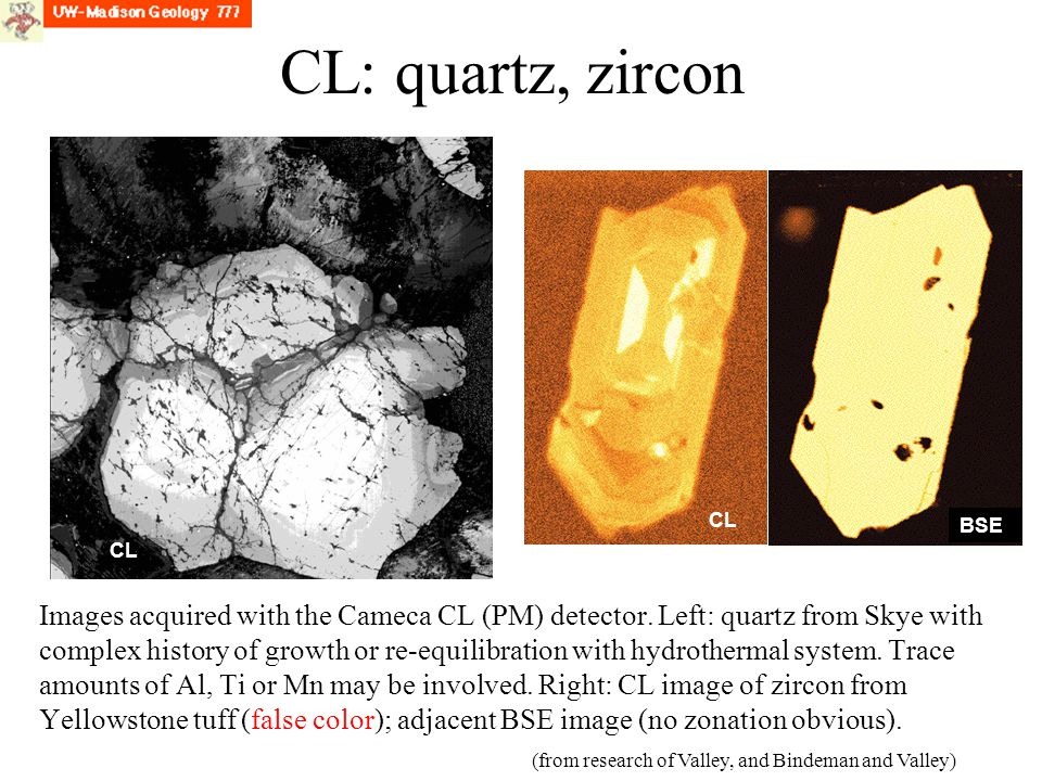 CL: quartz, zircon CL. BSE. CL.