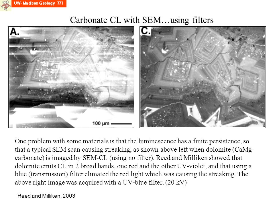 Carbonate CL with SEM…using filters