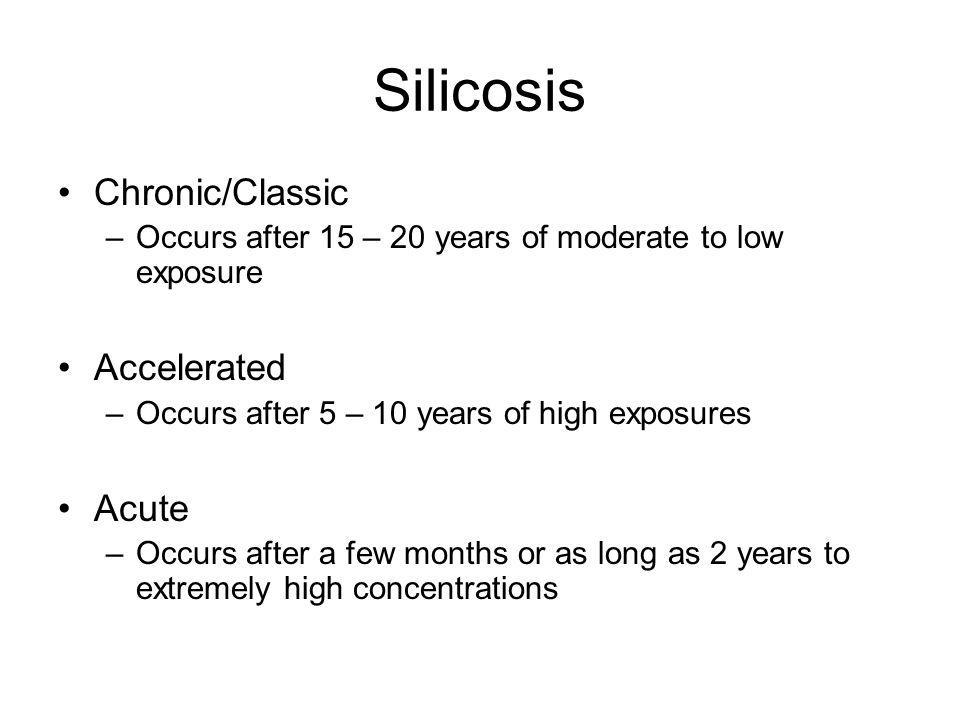 Silicosis Chronic/Classic Accelerated Acute
