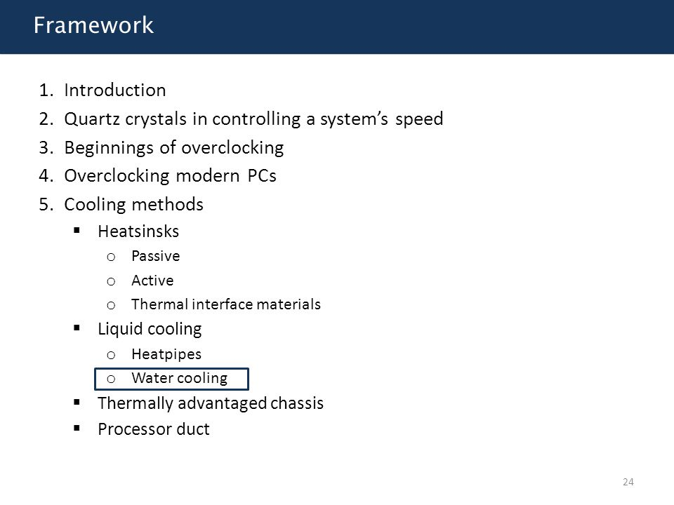 Framework Introduction Quartz crystals in controlling a system's speed