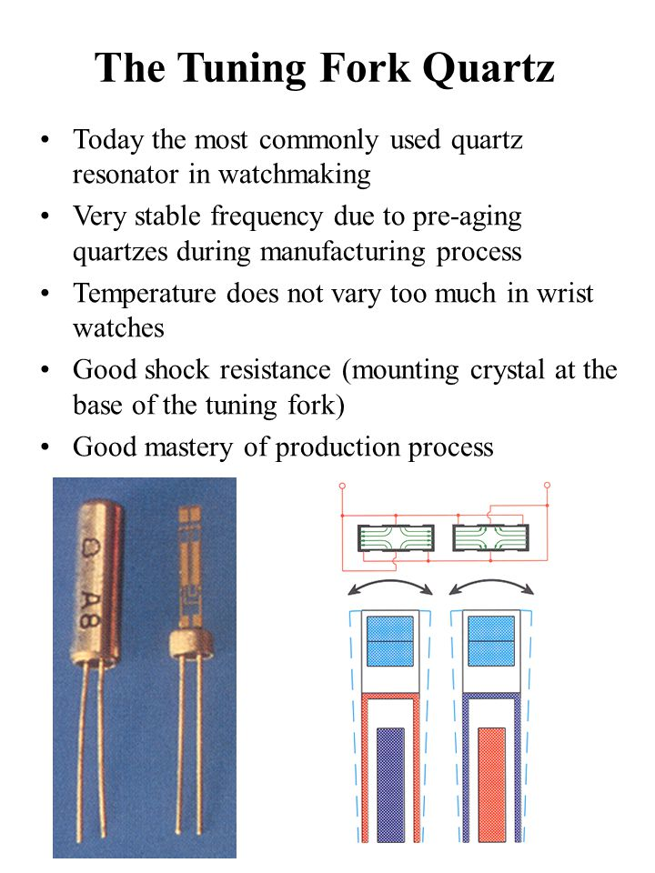 The Tuning Fork Quartz Today the most commonly used quartz resonator in watchmaking.