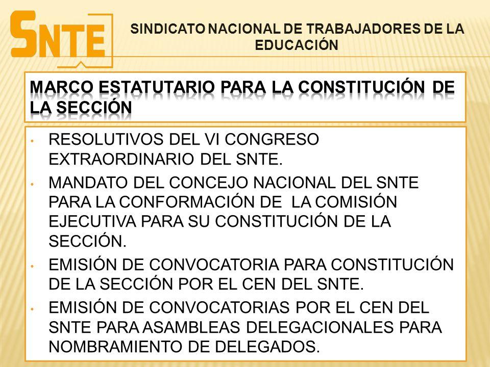 MARCO ESTATUTARIO PARA LA CONSTITUCIÓN DE LA SECCIÓN