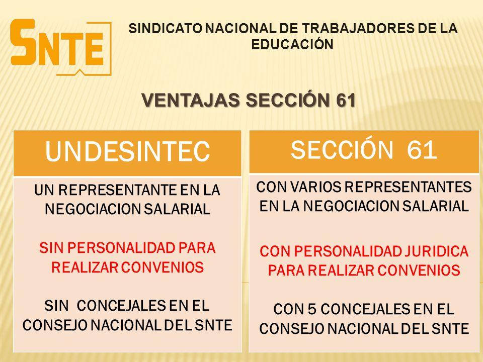UNDESINTEC SECCIÓN 61 VENTAJAS SECCIÓN 61