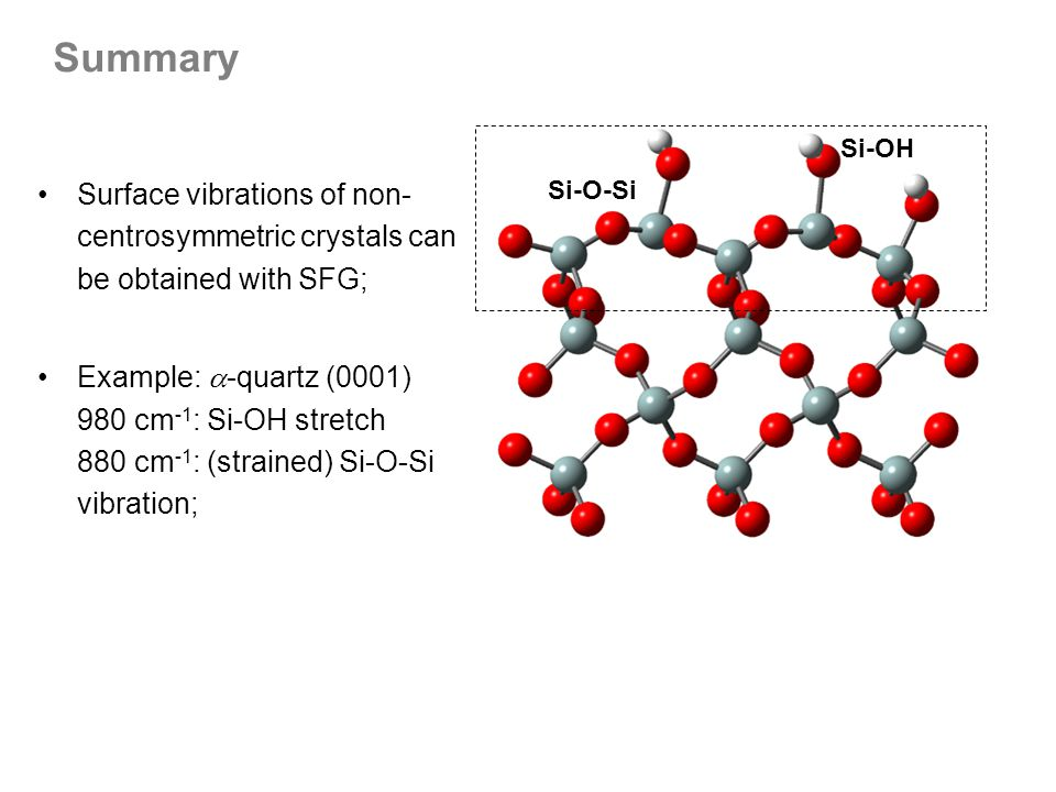 Summary Si-OH. Si-O-Si. Surface vibrations of non-centrosymmetric crystals can be obtained with SFG;
