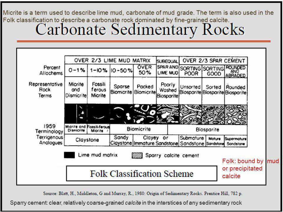 Folk: bound by mud or precipitated calcite