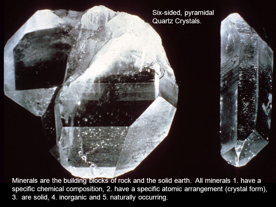 Six-sided, pyramidal Quartz Crystals.