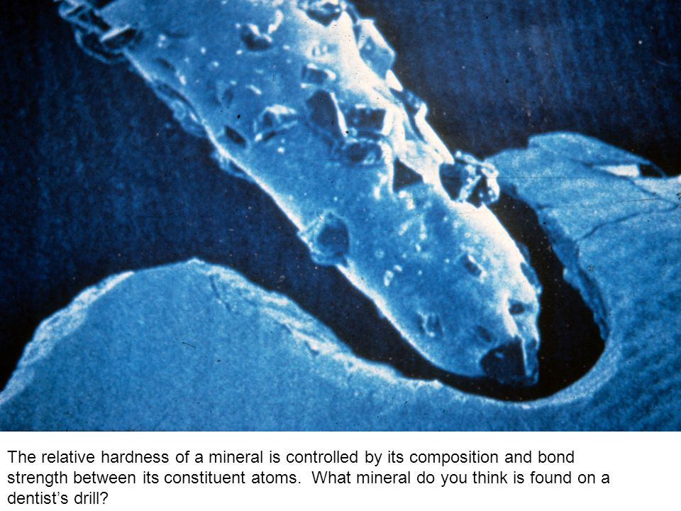 The relative hardness of a mineral is controlled by its composition and bond strength between its constituent atoms.