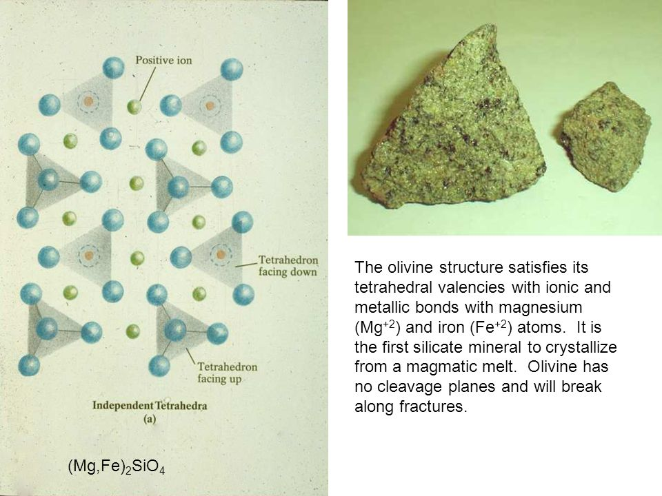 The olivine structure satisfies its tetrahedral valencies with ionic and metallic bonds with magnesium (Mg+2) and iron (Fe+2) atoms. It is the first silicate mineral to crystallize from a magmatic melt. Olivine has no cleavage planes and will break along fractures.