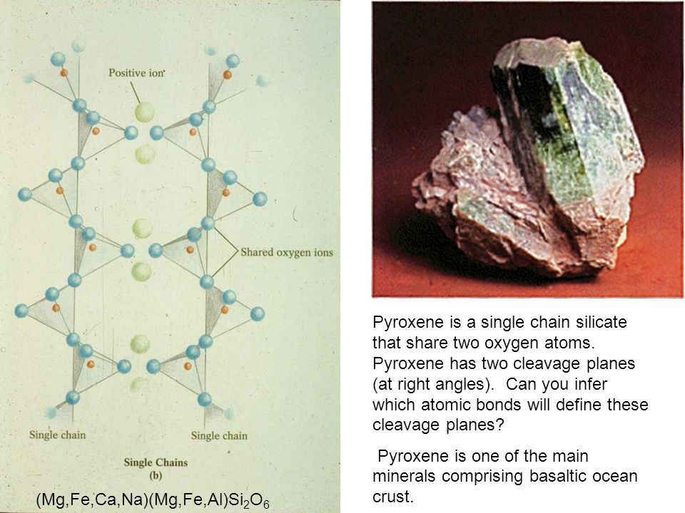 Pyroxene is a single chain silicate that share two oxygen atoms