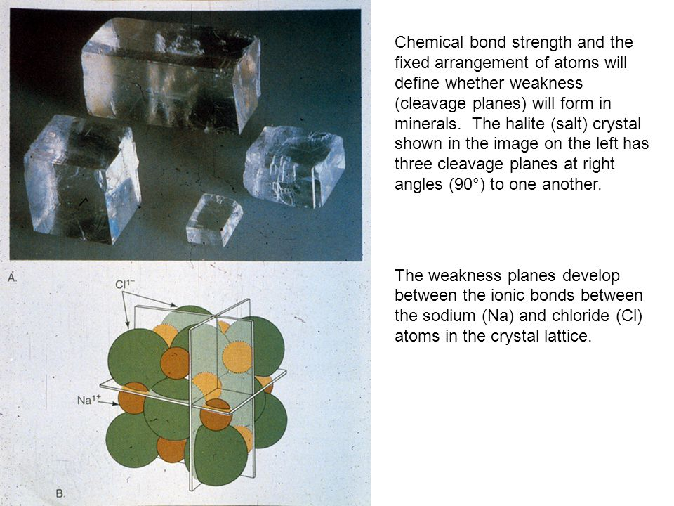Chemical bond strength and the fixed arrangement of atoms will define whether weakness (cleavage planes) will form in minerals. The halite (salt) crystal shown in the image on the left has three cleavage planes at right angles (90°) to one another.
