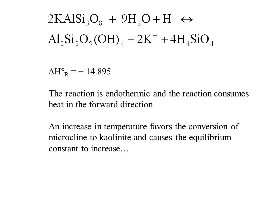 DH°R = + 14.895 The reaction is endothermic and the reaction consumes. heat in the forward direction.
