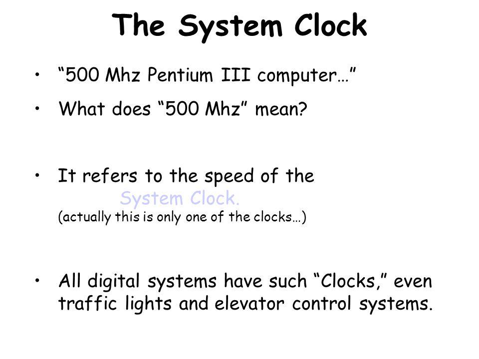 The System Clock 500 Mhz Pentium III computer…