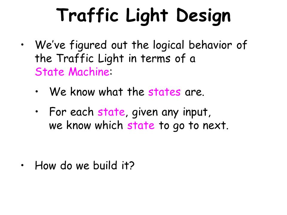 Traffic Light Design We've figured out the logical behavior of the Traffic Light in terms of a State Machine: